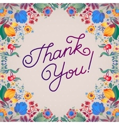 Thank you abstract floral background callygraphy vector