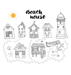 Beach huts and bungalows hand drawn outline doodle vector