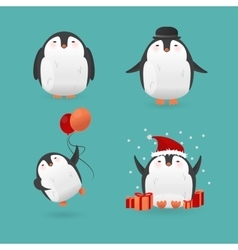 Collection of cute cartoon penguins characters vector