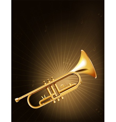 A golden trumpet vector