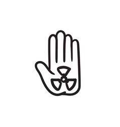 Ionizing radiation sign on a palm sketch icon vector