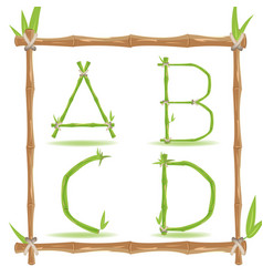 Bamboo letter alphabet green set a vector