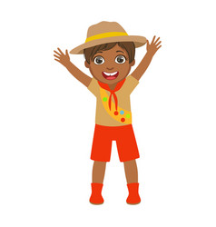 happy scout boy raising her arms up a colorful vector image