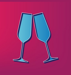 Sparkling champagne glasses  blue 3d vector