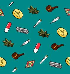 Drugs flat outline isometric pattern vector