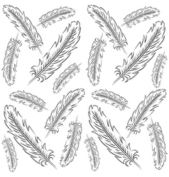 Hand drawn feather pattern vector
