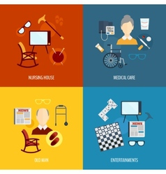 Pensioners life icons flat vector