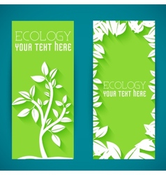 Flat eco leaf banners concept design vector