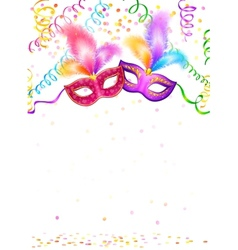 Bright carnival masks with confetti and serpentine vector
