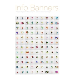 Mega collection of geometric info banners paper vector