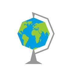 Octagonal earth - school globe education in vector