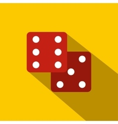 Red dice flat icon vector
