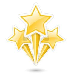 Golden stars on sticks - symbolic fireworks icon vector image