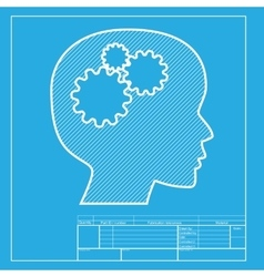 Thinking head sign white section of icon on vector