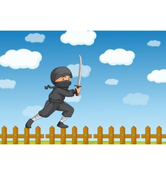 Ninja on fence vector