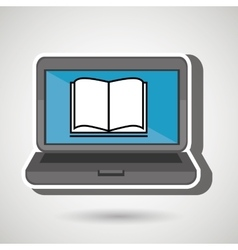 Laptop with book isolated icon design vector