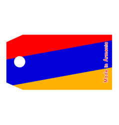 Armenia flag on price tag with word made in vector