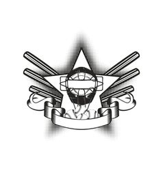 baseball mask in star vector image