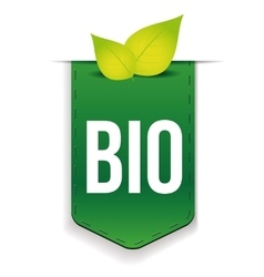 Bio ribbon with leaf green vector image