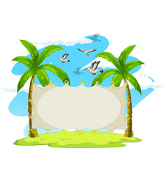 Blank sign on coconut trees vector