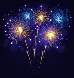 blue golden yellow fireworks vector image vector image