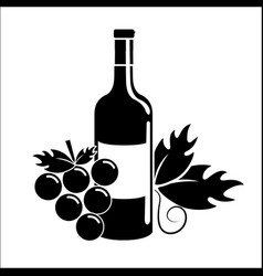 Bottle of wine with grape icon vector