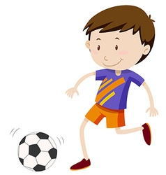 Boy kicing soccer ball vector image