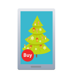 buying nice fir tree online on white background vector image vector image