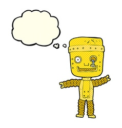 Cartoon funny gold robot with thought bubble vector