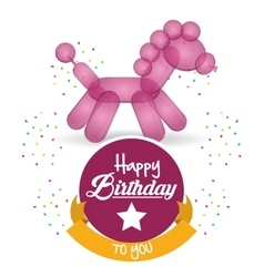 Cute balloon horse happy birthday confetti ribbon vector