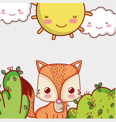 Cute fox in forest doodle cartoons vector