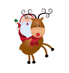 cute santa claus with reindeer christmas image vector image