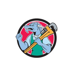 Dragon plumber monkey wrench fist pump cartoon vector