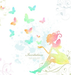 Fairy of watercolor paint vector