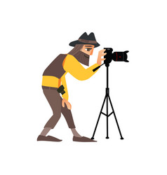 flat man with photo camera on tripod vector image vector image
