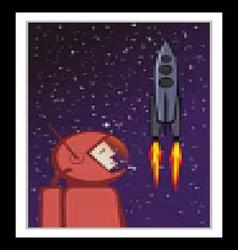 Heroic astronaut and flying space rocket vector image vector image