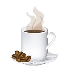 image color with hot mug of coffee serving on dish vector image