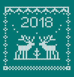 Knitted deer blue vector