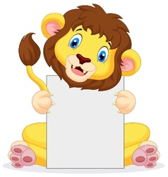 Lion cartoon holding blank sign vector image vector image