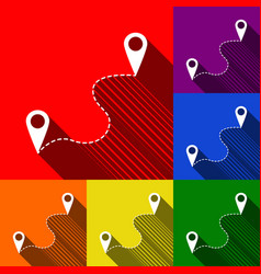 Location pin navigation map gps sign set vector