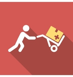 Medical Shopping Flat Square Icon with Long Shadow vector image vector image