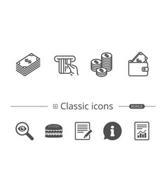 money cash and wallet line icons coins vector image
