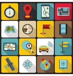 Navigation icons set flat ctyle vector image