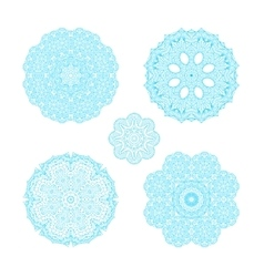 Ornament round set with blue mandala vector image vector image