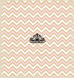 Pink zig zag pattern background vintage with Tiara vector image vector image