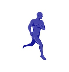 Purple human male running jogging vector image vector image