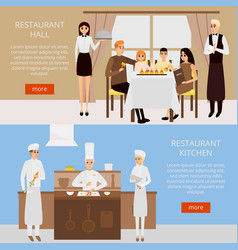 restaurant concept web banner in flat style vector image vector image
