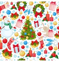 Seamless pattern of Christmas icons vector image vector image