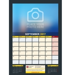 September 2017 wall calendar for 2017 year vector