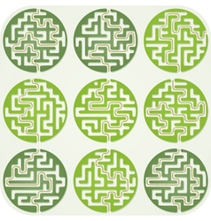 Set of Maze For Kids With Answer vector image vector image